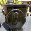 Picture of Pot Glazed Urn Flower/Fern Motif Black