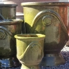 Picture of Pot Glazed Urn Flower/Fern Motif Jade Green