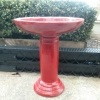 Picture of Pot Bird Bath Glazed Red