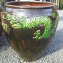 Picture of Pot Dragon Green on Brown